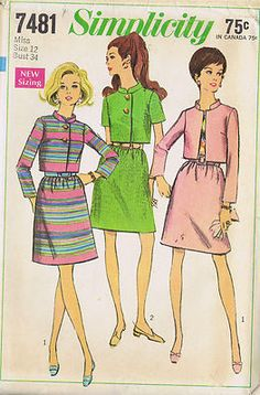 Vintage 60's Two Piece Suit Pattern    The skirt pattern gathered to waistband has side zipper and purchased belt.  The lined Jacket pattern has stand-up collar, set-in sleeves and optional front button closing.  View 1 has about wrist-length sleeves.  View 2 has short sleeves Blouse is not included in this pattern
