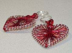 Oh My Heart Valentine Red Silver Wire Wrapped by ArtisticTouches, $12.00