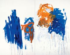 Merci, 1992. Oil on canvas (diptych), 110 1/4 x 141 1/2 inches (280 x 359.4 cm). Collection of the Joan Mitchell Foundation, New York.