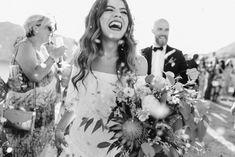Romantic Wedding in Milos island Greece Bohemian Chic Weddings, Bohemian Bride, Protea Wedding, Wedding Bouquets, Wedding Dinner, Wedding Ceremony, Wedding Dress Train, Greece Wedding, Wedding Moments