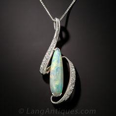 Platinum Opal and Diamond Pendant - 90-1-6662 - Lang Antiques
