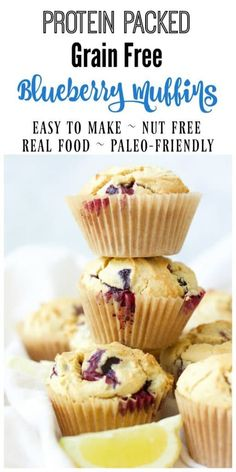 Free Blueberry Muffins (Protein-Packed) Grain free Blueberry Muffins are the perfect, protein-packed, on-the-go breakfast or afternoon snack. These delicious Paleo-friendly muffins are overflowing with blueberries and have a subtle buttery, lemon flavor. Gluten Free Recipes For Breakfast, Gluten Free Desserts, Muffin Recipes, Paleo Recipes, Real Food Recipes, Snack Recipes, Brunch Recipes, Protein Recipes, Paleo Meals