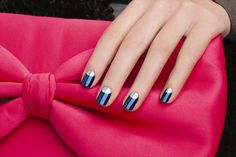 DIY reverse french manicure 2015 step by step tutorials and designs.How to do Half moon reverse manicure and crescent french manicure French Nails, Reverse French Manicure, Half Moon Manicure, Moon Nails, French Manicure Designs, Nail Art Designs, Blue And Silver Nails, Rose Gold Nail Polish, Manicure E Pedicure