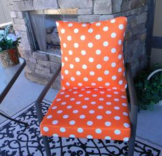 Outdoor Orange and White Polka Dot Foam Cushion & Back Pillow Set for Patio Dining - Choose Size by PillowsCushionsOhMy, $69.99 Back Pillow, Pillow Set, Patio Dining, Foam Cushions, Rubber Rain Boots, Polka Dots, Orange, Trending Outfits, Unique Jewelry