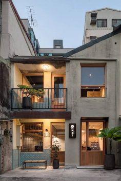Cafe Shop Design, Cafe Interior Design, Architecture Design, Computer Architecture, Japan Architecture, Small House Design, Small Cafe Design, Minimalist House Design, Facade House