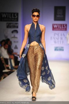 Kanishtha Dhankar showcases a creation by fashion designers Ashish Viral and Vikrant on Day 5 of Wills Lifestyle India Fashion Week (WIFW) S...
