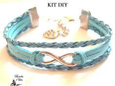 Kit DIY créatif bracelet infini multi rangs bleu ciel en cordon tressé et suédine