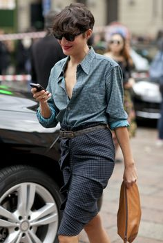 All the Best Street Style Straight From Milan Fashion Week!: Coordinating printed pants and harnesses.  : Kate Davidson Hudson was preppy on top, flirty on bottom.  : Kate Lanphear did her signature tough-girl thing.  : Christine Centenera aced the edgy-meets-polished dress code that's made her a favorite street-style star.  : We adore this understated print on print.