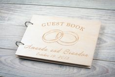 Wedding Guestbook Wood Guest Book Date and namesCustom от woodlack