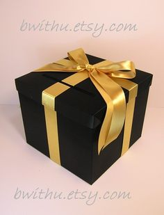 Black and Gold Wedding  Card Box Gift Card Box  Money Box Holder-Customize your color