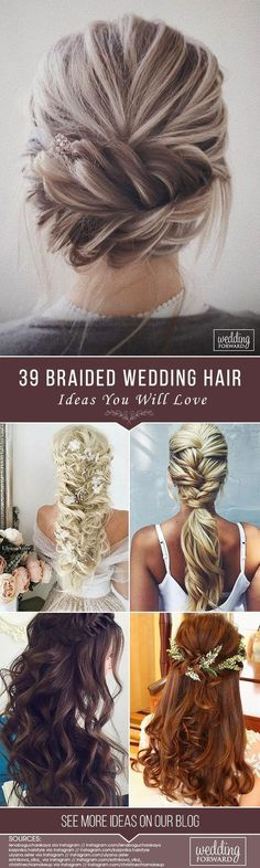 39 Braided Wedding Hair Ideas You Will Love  From soft waves to gorgeous updos and ponytails brides have so many hairstyles to consider. See our gallery of braided wedding hair ideas for inspiration! See more: www.weddingforwar... #weddings #hairstyles #bridalhairstyle #braidedweddinghair #weddinghairstyles