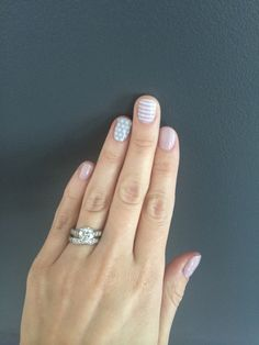 Nails--Daydream, gray and white polka and white stripe by Jamberry