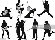 Silhouettes Of People Playing Guitar Illustration , Photoshop Pics, Playing Guitar, Art Reference, Fan Art, Illustration, People, Movie Posters, Character, Silhouettes