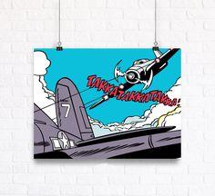 Comics Action Scene War Customizable Wall Art