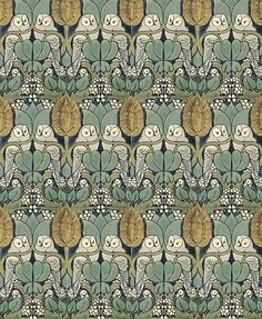 The Owl ~ wallpaper designed by CFA Voysey during the Arts and Crafts Movement Art Nouveau Wallpaper, Owl Wallpaper, Photo Wallpaper, Pattern Wallpaper, William Morris Wallpaper, Morris Wallpapers, Craftsman Wallpaper, Stair Renovation, Wall Art Crafts