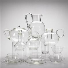 Simple Wilhelm Wagenfeld Glass tea and water service approximately pieces