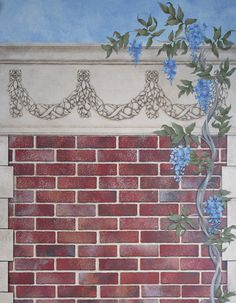 The Brick Wall Trompe L'oeil Stencil is a realistic wall mural stencil that includes 8 bricks to form an allover pattern, plus fallouts for trompe l'oeil stencil shading. - Details - Stencil Ideas - H