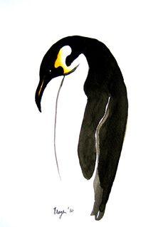 Painting - Emperor Penguin Sumi-e - Japanese Brush - Ink Painting Bird Art Print