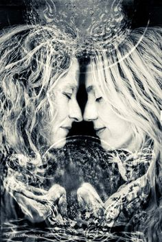 Wheel of Fortune #tarot - 06 Lovers Black and white photography multiple exposure  Anne Staveley and Jill Sutherland of Livinlarge Photo