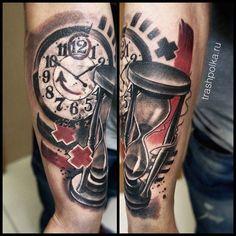 trash polka clock watch tattoo