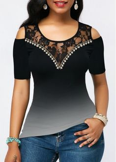 Shop black Tops online,Tops with cheap wholesale price,shipping to worldwide Trendy Tops For Women, Blouses For Women, Blouse Styles, Blouse Designs, Shirt Makeover, Mode Hijab, Fashion 2020, African Fashion, Fashion Dresses