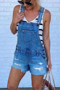 Jeans Pants Loose Casual Denim Buttons Blue Button Fly Bleached Shorts Ripped Pockets Spring Summer Women's Jumpsuits S M L XL XXL Pants & Leggings Overall Shorts Outfit, Overalls Outfit, Denim Romper, Denim Overalls, Denim Skirts, Jean Skirts, Denim Jumpsuit, Maxi Skirts, Jean Short Overalls
