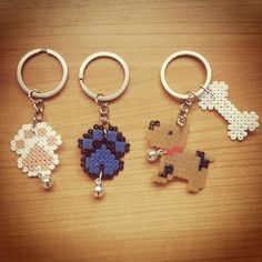 Dog keyrings hama mini beads by luciamouriz