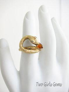 Antique Gold Snake Ring  Band, Vintage gold snake ring, Serpent ring, Two Girls Gems