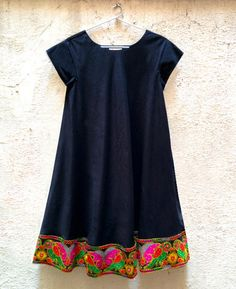Black Cotton Swing Dress with Embroidered Parrot Border