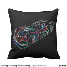 Glowing Sparkling Racing Luxury Neon Colors Car Throw Pillow