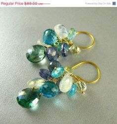 Spring Sale Blue and Green Gemstone Earrings  by SurfAndSand, $75.65