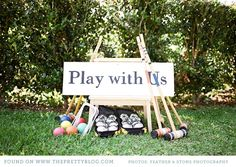 Garden party - lawn games for guests at the while photos are being taken and during the reception Chic Wedding, Wedding Reception, Our Wedding, Reception Ideas, Wedding Ideas, Quirky Wedding, Brunch Wedding, Wedding 2015, Wedding Inspiration
