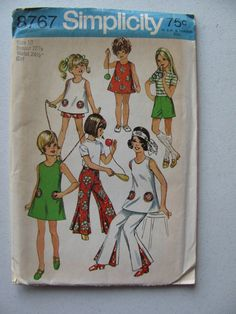 Vintage 1970 Simplicity Pattern #8767 Size 10 Child/Girl's Pants/Dress or Tunic