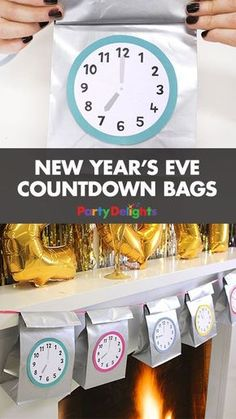 These New Year's Eve countdown bags are a fun way to count down to the New Year! Fill each bag with treats and open one bag every hour. Perfect for a New Year's Eve party for kids. Happy New Year 2017!