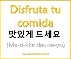 Disfruta tu comida: Enjoy your food Korean Words Learning, Korean Language Learning, How To Speak Korean, Learn Korean, Language Study, Learn A New Language, Learn Hangul, Korean Writing, Korean Alphabet
