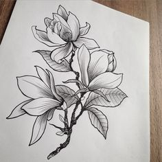 Flower tattoo sketch - I love creative flower drawings because there are so many options here. you can use simple floral sketches as tattoos (which is great!) Flowers are always 'in' . Tattoo Sketches, Drawing Sketches, Tattoo Drawings, Art Drawings, Drawing Ideas, Line Art Design, Flower Tattoo Designs, Flower Tattoos, Pfau Tattoo