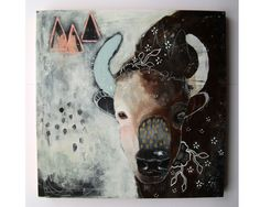 Original bison bull painting whimsical boho by thesecrethermit