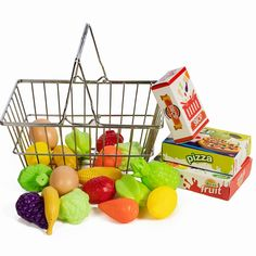 IQ Toys Stainless Steel Pretend Shopping Basket with Hard Plastic Play Food, 21 Piece Fake Food and Accessories Set -- Learn more by visiting the image link. (This is an affiliate link)