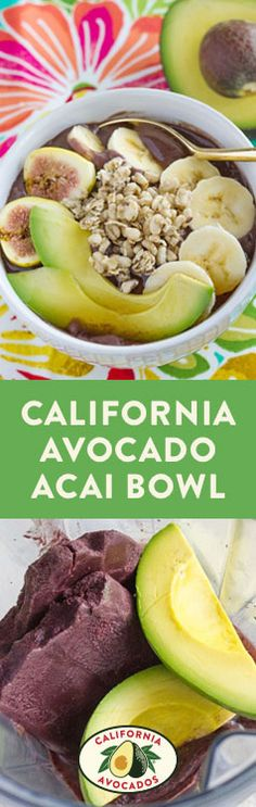 This creamy acai bowl with fresh California avocados, bananas, and crunchy granola is quick, easy and full of flavor!
