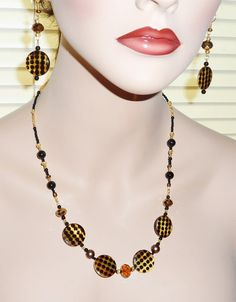 Mother of Pearl Shell Brown and Black Dotted by JaymoJewels, $25.00