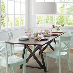 LOVE these chairs!!!  Vintner Mint Side Chair in Dining Chairs | Crate and Barrel- $149 each.