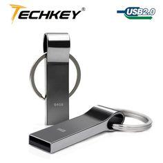 Hot Sale New Techkey usb Flash Drive 64GB 32GB 16GB 8GB 4GB Pen Drive Pendrive Waterproof Metal Silver U Disk Memory Disk USB 2.0