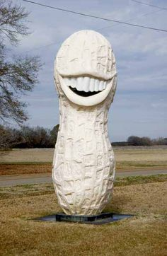 Jimmy Carter Peanut Sculpture in Plains, Georgia: Created by Dem­ocrats in Indiana for a Jimmy Carter visit during his presidential campaign in 1976, this roadside statue -- a 13-foot peanut -- pays homage to the former president's peanut-farming background and toothy grin.  Its creators subsequently gave it to the president, and it now sits only a stone's throw from his old campaign headquarters in Georgia.