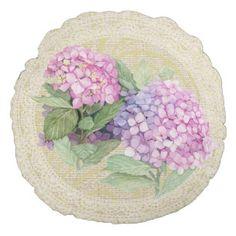 Pink hydrangea & lace floral vintage pillow round pillow