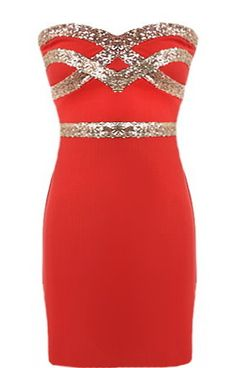 Red Diamond Dress: Features an ultra feminine sweetheart neckline, glittering gold crossover design to the bodice, figure-flattering sequin waistband, and a sexy body-conscious silhouette to finish.