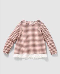 Blusa de niña de cuadros bicolor