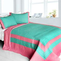 [Geek In The Pink] Cotton 3PC Vermicelli-Quilted Striped Printed Quilt Set (Full/Queen Size)