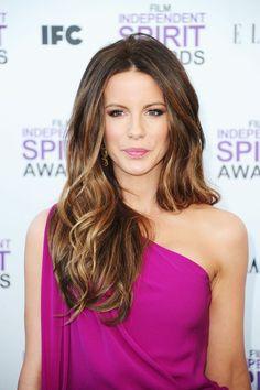 Tousled highlighted brunette #hair