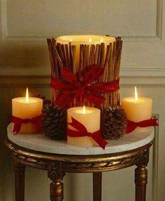 Fall or Christmas candle decor