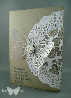 addINKtive designs: Doily Cards with SU Butterflies thinlets Pretty Cards, Cute Cards, Diy Cards, Doilies Crafts, Paper Doilies, Paper Doily Crafts, Fabric Crafts, Tarjetas Stampin Up, Stampin Up Cards